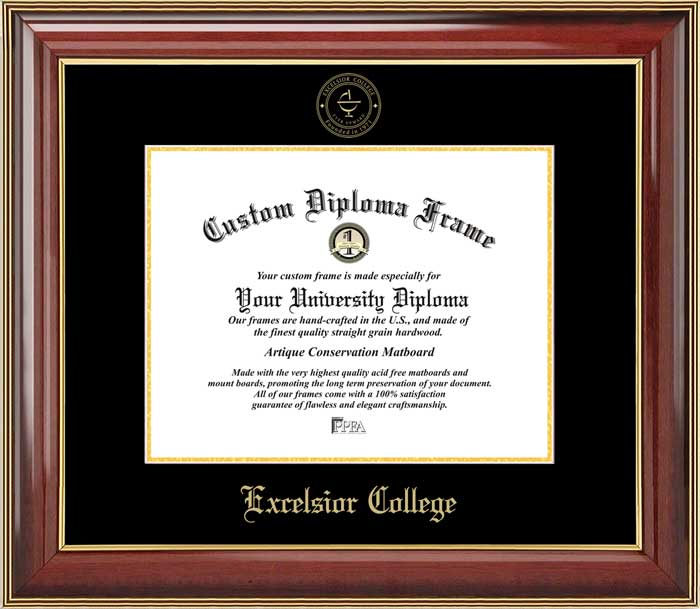 college excelsior college embossed seal mahogany gold trim diploma frame