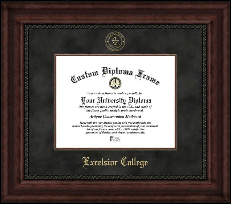 College - Excelsior College  - Embossed Seal - Suede Mat - Mahogany - Diploma Frame
