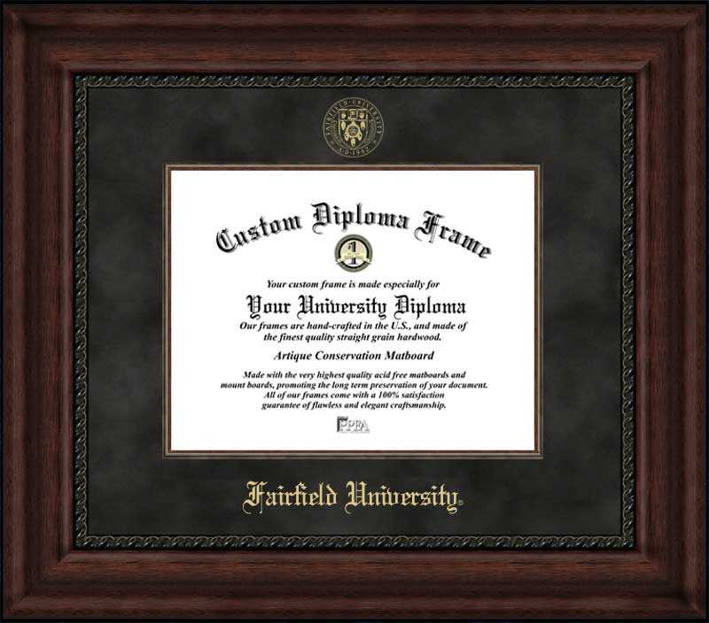 College - Fairfield University Stags - Embossed Seal - Suede Mat - Mahogany - Diploma Frame