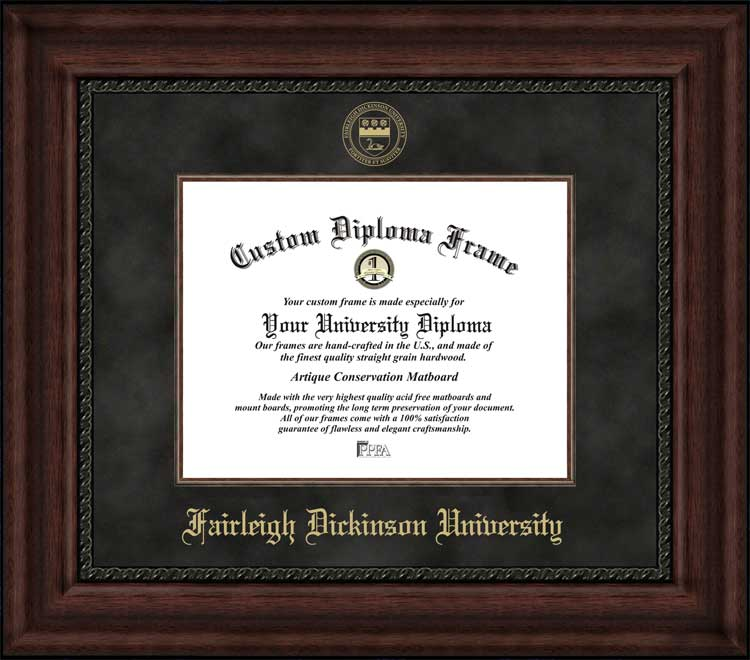 College - Fairleigh Dickinson University Knights - Embossed Seal - Suede Mat - Mahogany - Diploma Frame