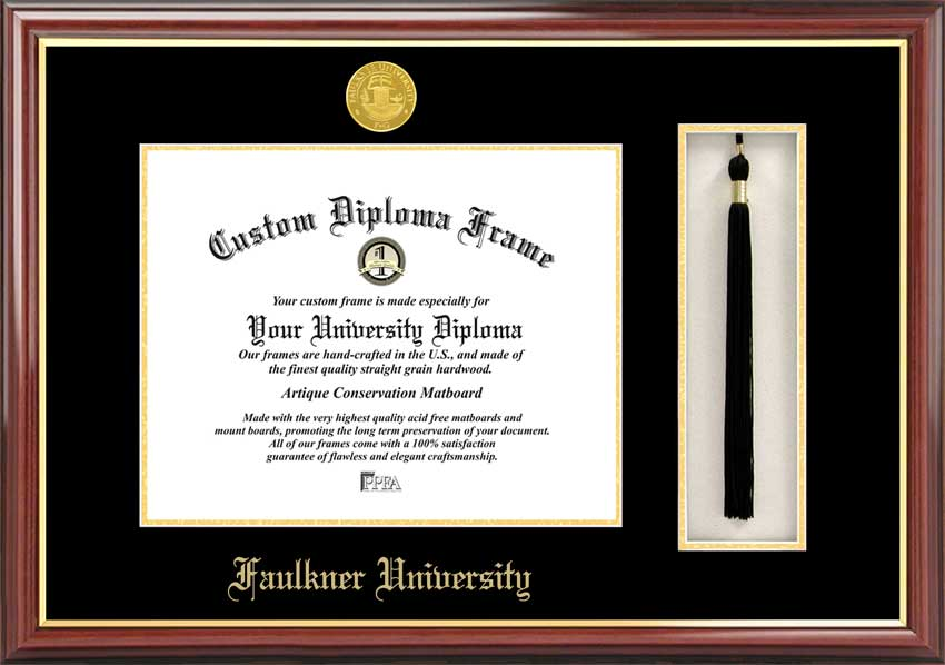 College - Faulkner University Eagles - Gold Medallion - Tassel Box - Mahogany - Diploma Frame