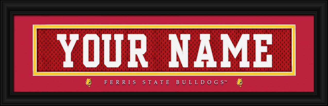 College - Ferris State Bulldogs - Personalized Jersey Nameplate - Framed Picture