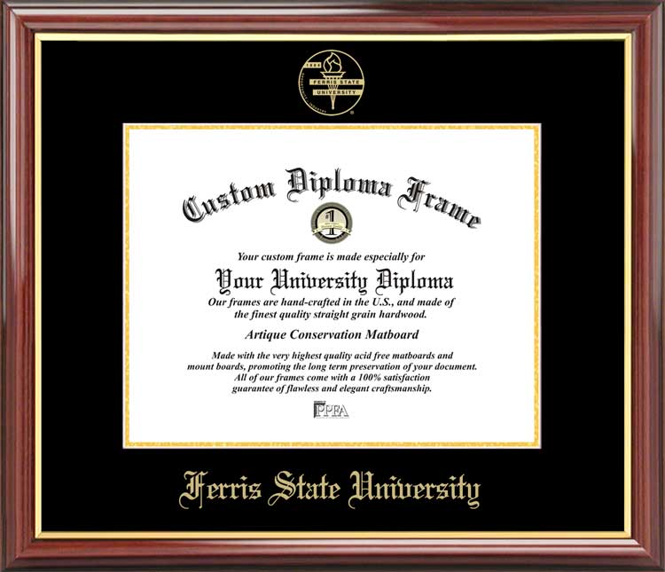 College - Ferris State University Bulldogs - Embossed Seal - Mahogany Gold Trim - Diploma Frame