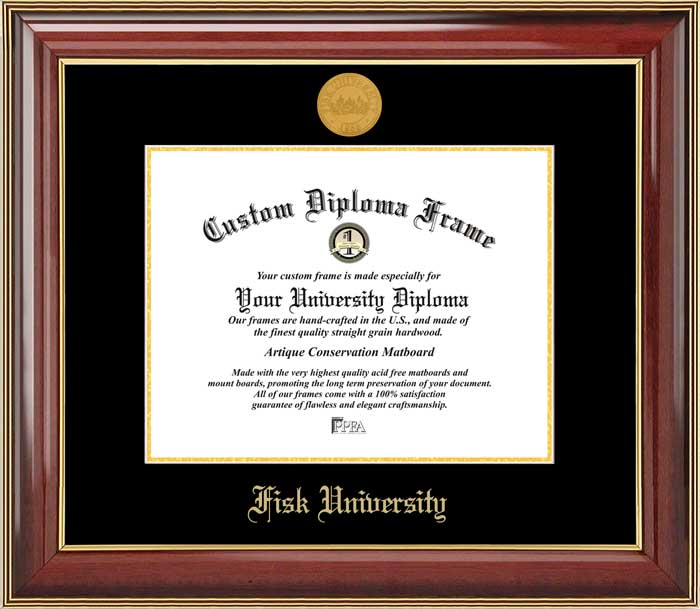 College - Fisk University Bulldogs - Gold Medallion - Mahogany Gold Trim - Diploma Frame