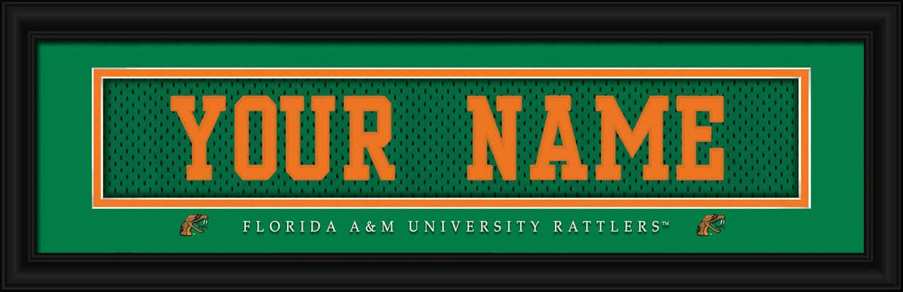 College - Florida A&M Rattlers - Personalized Jersey Nameplate - Framed Picture