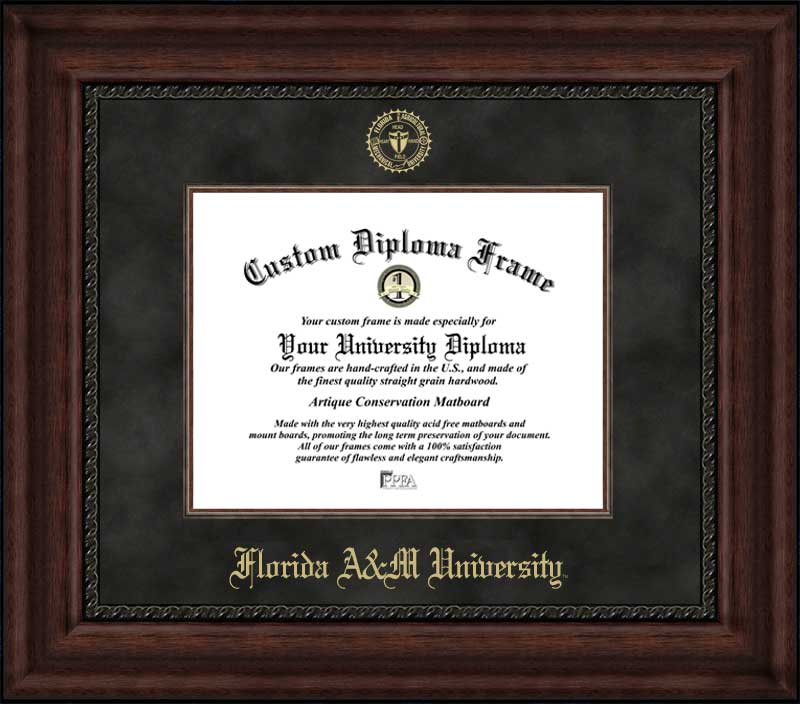 College - Florida A&M University Rattlers - Embossed Seal - Suede Mat - Mahogany - Diploma Frame