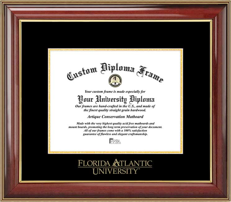 College - Florida Atlantic University Owls - Embossed Seal - Mahogany Gold Trim - Diploma Frame