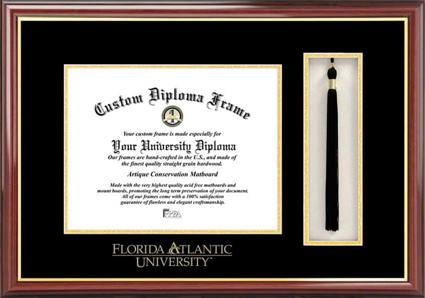College - Florida Atlantic University Owls - Embossed Seal - Tassel Box - Mahogany - Diploma Frame