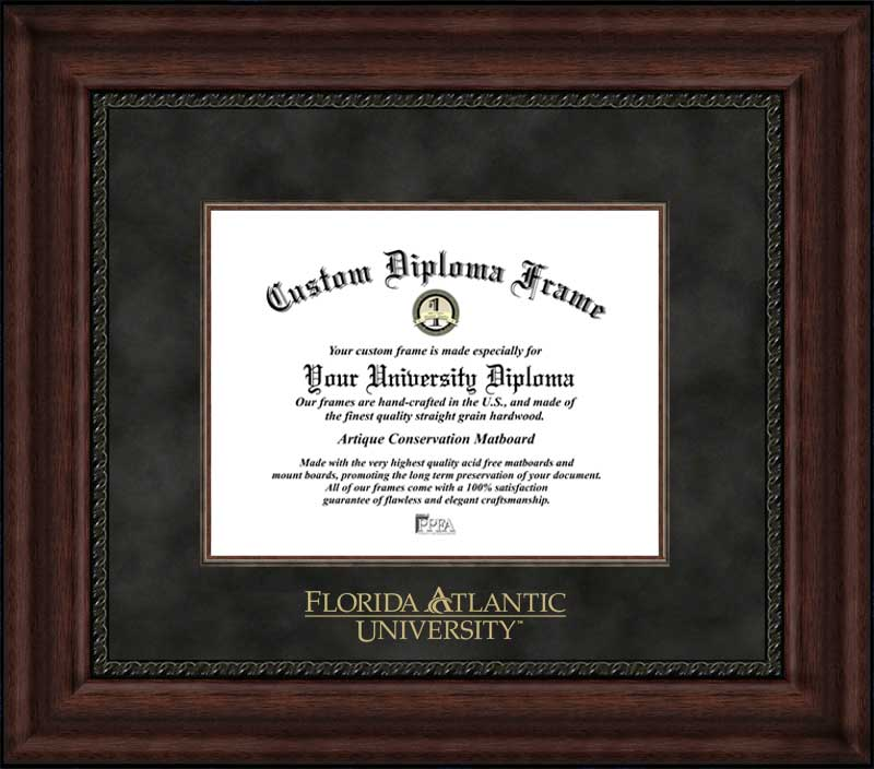 College - Florida Atlantic University Owls - Embossed Seal - Suede Mat - Mahogany - Diploma Frame