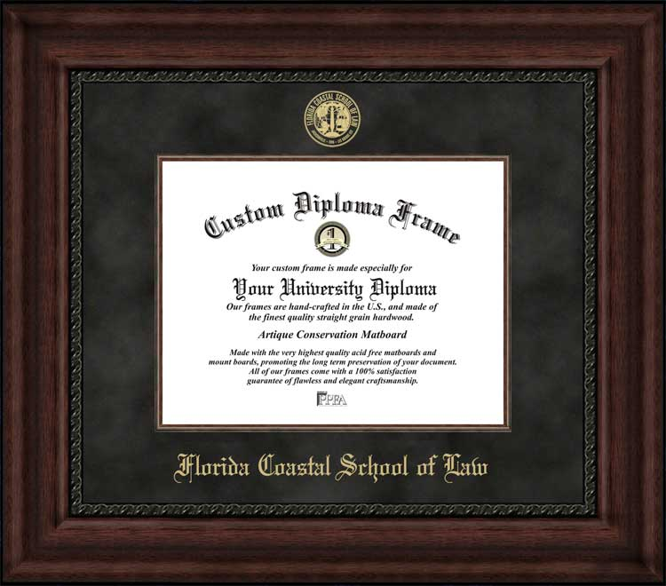 College - Florida Coastal School of Law  - Embossed Seal - Suede Mat - Mahogany - Diploma Frame