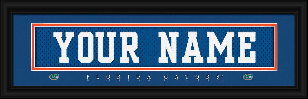 College - Florida Gators - Personalized Jersey Nameplate - Framed Picture