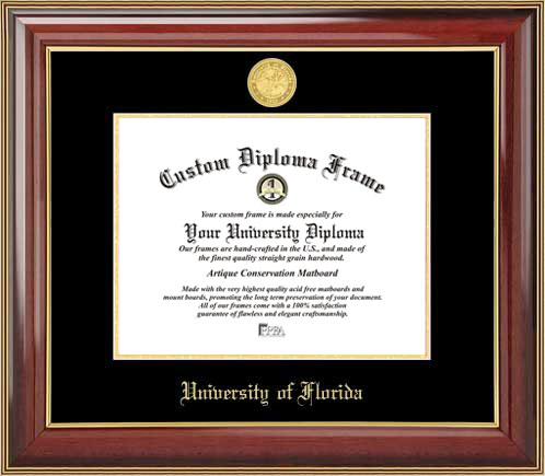 College - University of Florida Gators - Gold Medallion - Mahogany Gold Trim - Diploma Frame