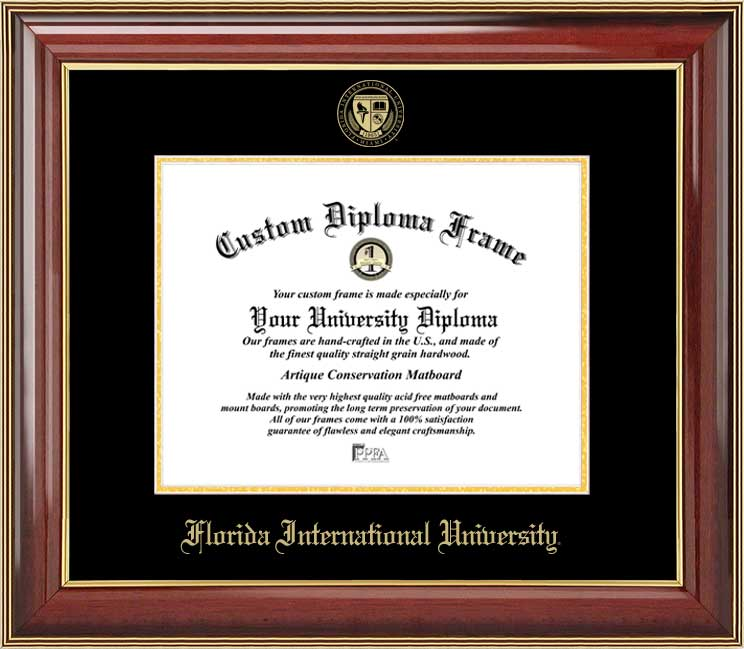 College - Florida International University Golden Panthers - Embossed Seal - Mahogany Gold Trim - Diploma Frame