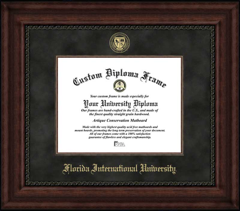 College - Florida International University Golden Panthers - Embossed Seal - Suede Mat - Mahogany - Diploma Frame