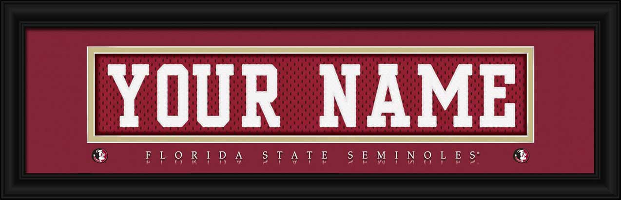 College - Florida State Seminoles - Personalized Jersey Nameplate - Framed Picture