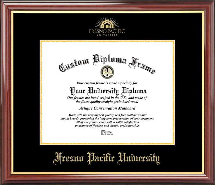 College - Fresno Pacific University Sunbirds - Embossed Logo - Mahogany Gold Trim - Diploma Frame