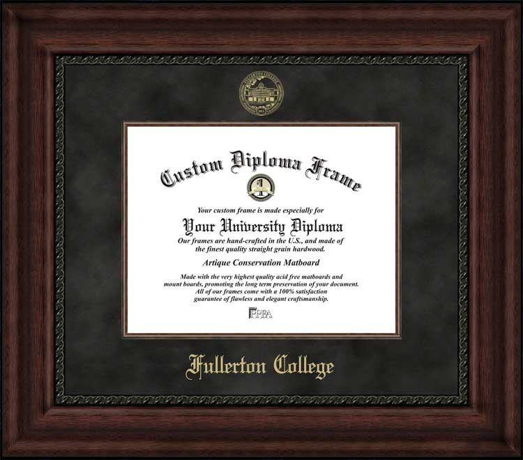 College - Fullerton College  - Embossed Seal - Suede Mat - Mahogany - Diploma Frame