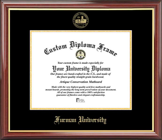 College - Furman University Paladins - Embossed Seal - Mahogany Gold Trim - Diploma Frame