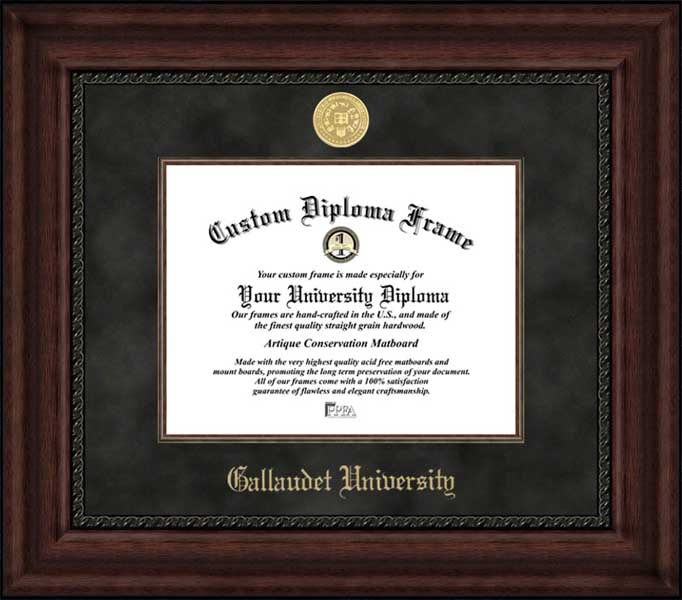 College - Gallaudet University Bison - Gold Medallion - Suede Mat - Mahogany - Diploma Frame