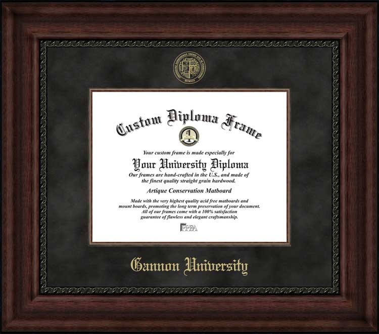 College - Gannon University Golden Knights - Embossed Seal - Suede Mat - Mahogany - Diploma Frame