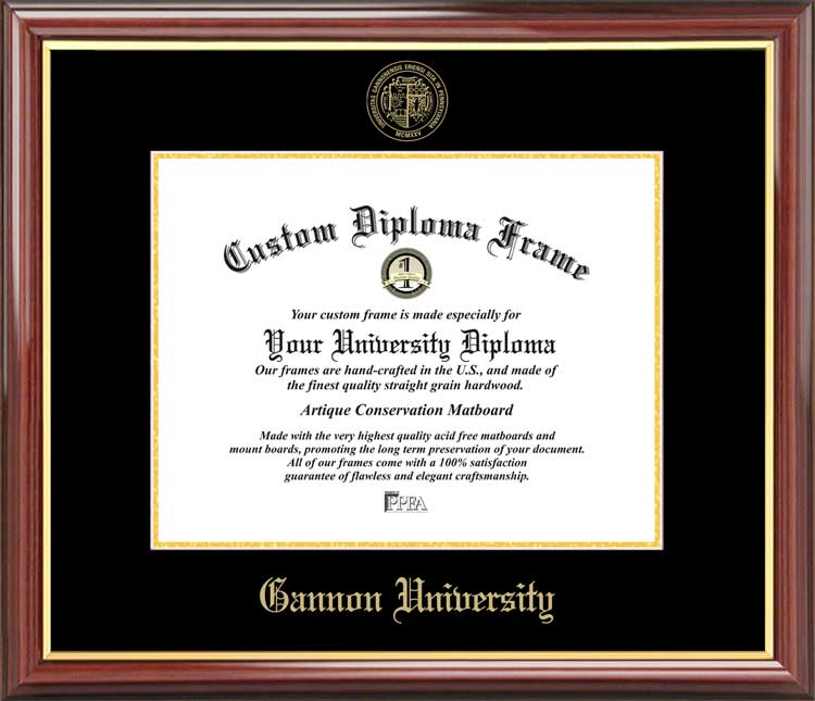 College - Gannon University Golden Knights - Embossed Seal - Mahogany Gold Trim - Diploma Frame