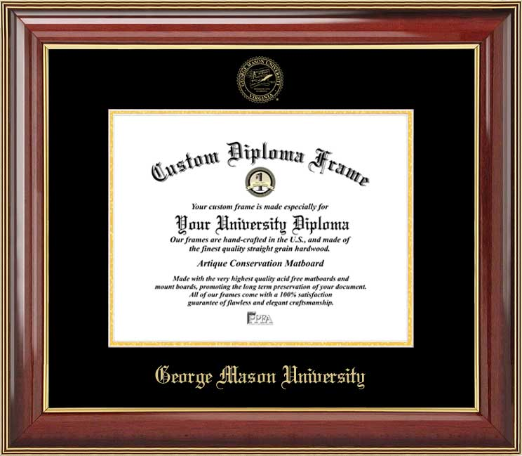 College - George Mason University Patriots - Embossed Seal - Mahogany Gold Trim - Diploma Frame