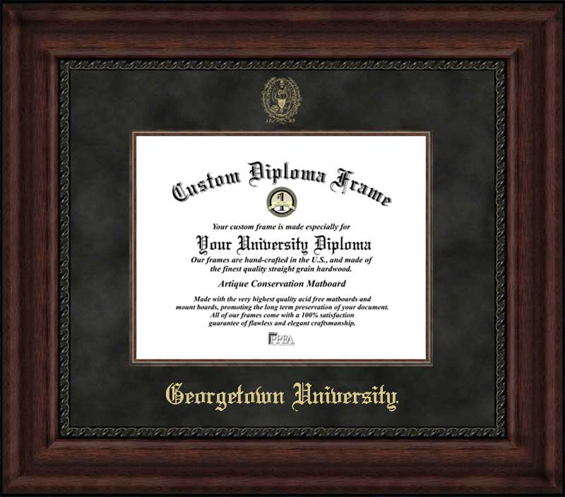 College - Georgetown University (DC) Hoyas - Embossed Seal - Suede Mat - Mahogany - Diploma Frame