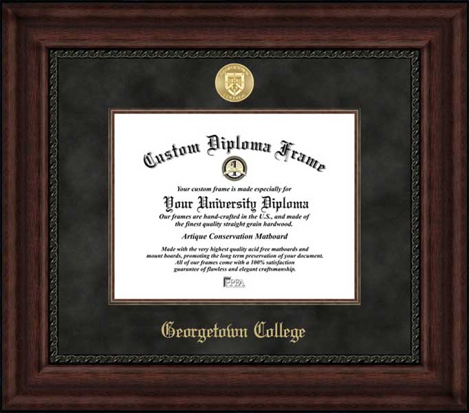 College - Georgetown College (KY) Tigers - Gold Medallion - Suede Mat - Mahogany - Diploma Frame