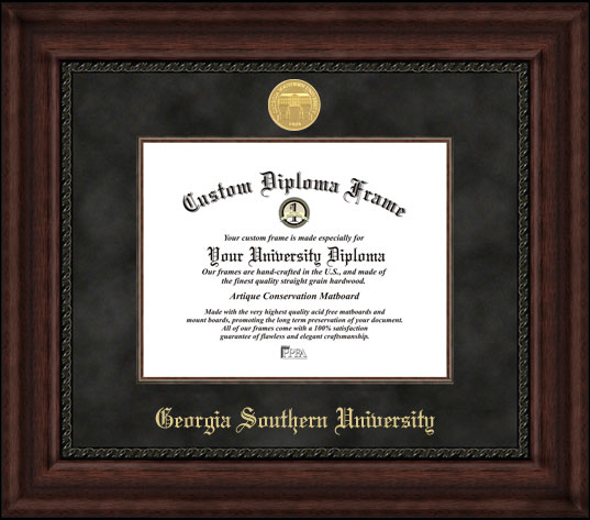 College - Georgia Southern University Eagles - Gold Medallion - Suede Mat - Mahogany - Diploma Frame