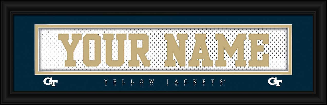 College - Georgia Tech Yellow Jackets - Personalized Jersey Nameplate - Framed Picture