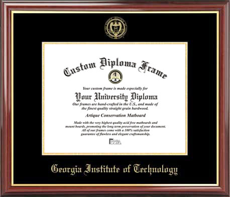 College - Georgia Inst. of Technology Yellow Jackets - Embossed Seal - Mahogany Gold Trim - Diploma Frame