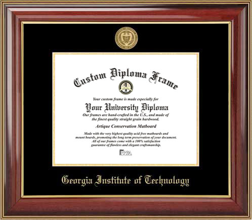 College - Georgia Inst. of Technology Yellow Jackets - Gold Medallion - Mahogany Gold Trim - Diploma Frame
