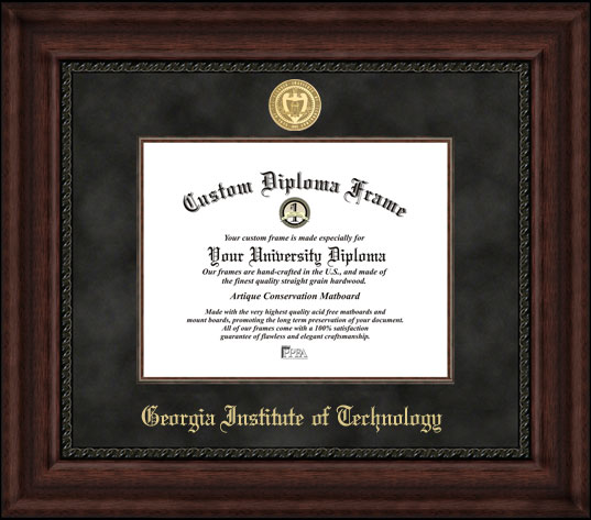 College - Georgia Inst. of Technology Yellow Jackets - Gold Medallion - Suede Mat - Mahogany - Diploma Frame