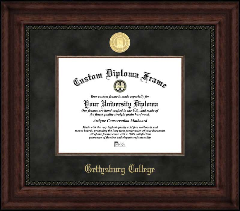 College - Gettysburg College Bullets - Gold Medallion - Suede Mat - Mahogany - Diploma Frame