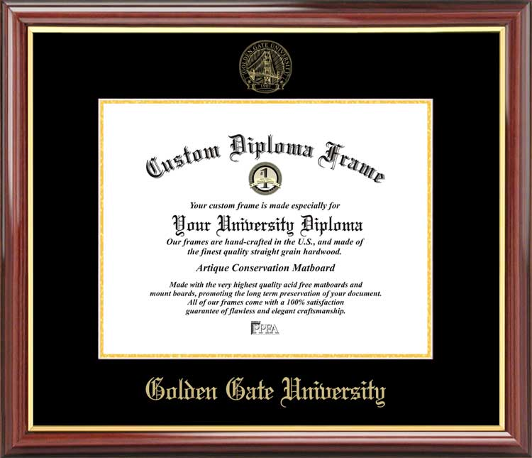 College - Golden Gate University Griffins - Embossed Seal - Mahogany Gold Trim - Diploma Frame