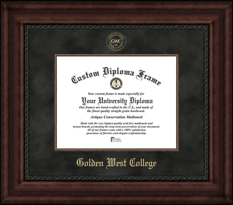 College - Golden West College Rustlers - Embossed Seal - Suede Mat - Mahogany - Diploma Frame