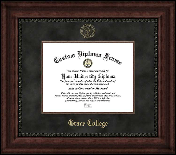 College - Grace College & Seminary  - Embossed Seal - Suede Mat - Mahogany - Diploma Frame
