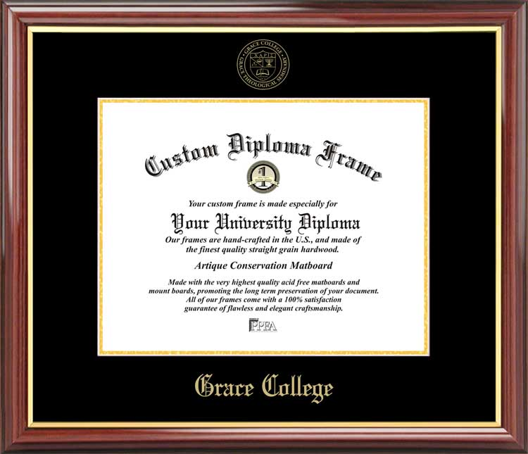 College - Grace College & Seminary  - Embossed Seal - Mahogany Gold Trim - Diploma Frame