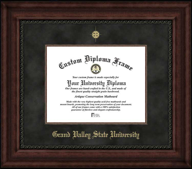 College - Grand Valley State University Lakers - Embossed Logo - Suede Mat - Mahogany - Diploma Frame