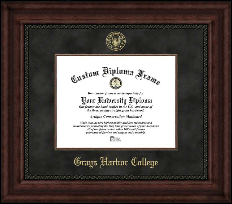 College - Grays Harbor College Chokers - Embossed Seal - Suede Mat - Mahogany - Diploma Frame