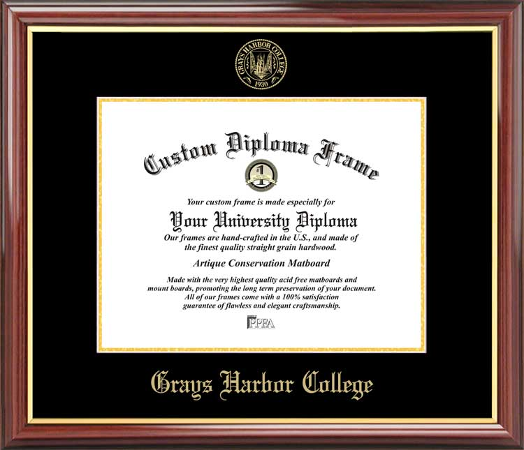 College - Grays Harbor College Chokers - Embossed Seal - Mahogany Gold Trim - Diploma Frame