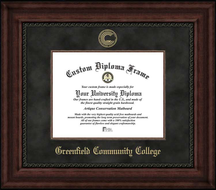 College - Greenfield Community College  - Embossed Seal - Suede Mat - Mahogany - Diploma Frame