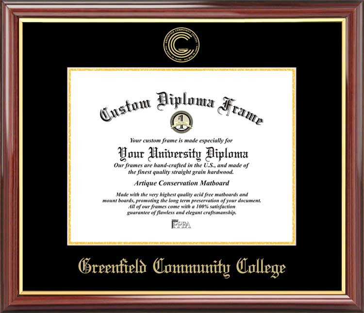 College - Greenfield Community College  - Embossed Seal - Mahogany Gold Trim - Diploma Frame