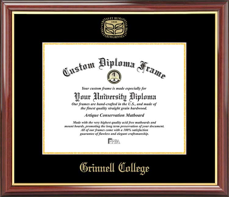 College - Grinnell College Pioneers - Embossed Logo - Mahogany Gold Trim - Diploma Frame