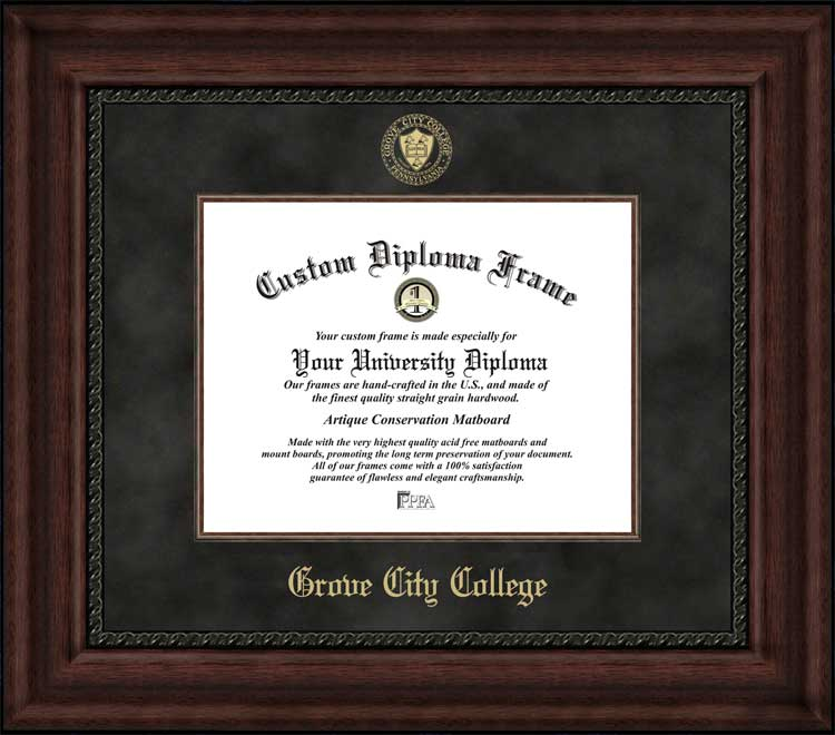 College - Grove City College Wolverines - Embossed Seal - Suede Mat - Mahogany - Diploma Frame