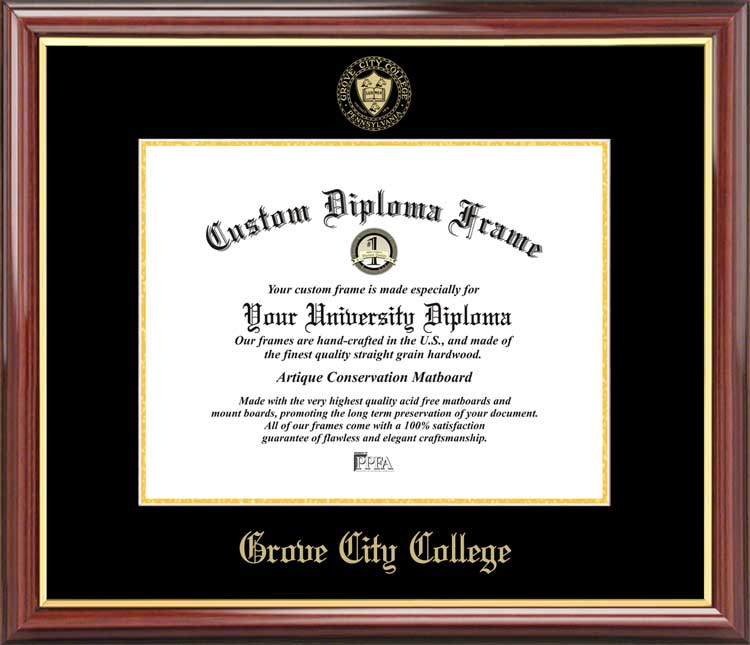College - Grove City College Wolverines - Embossed Seal - Mahogany Gold Trim - Diploma Frame