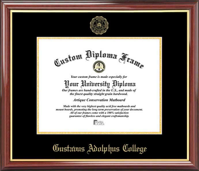 College - Gustavus Adolphus College Golden Gusties - Embossed Seal - Mahogany Gold Trim - Diploma Frame