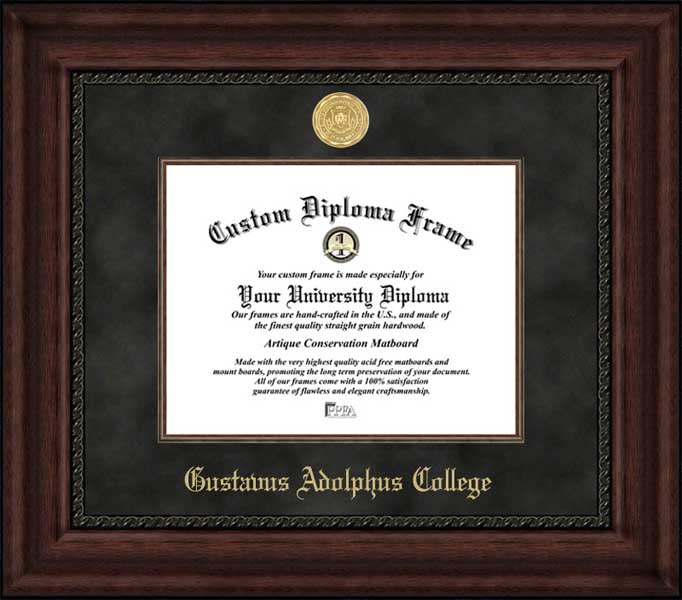 College - Gustavus Adolphus College Golden Gusties - Gold Medallion - Suede Mat - Mahogany - Diploma Frame