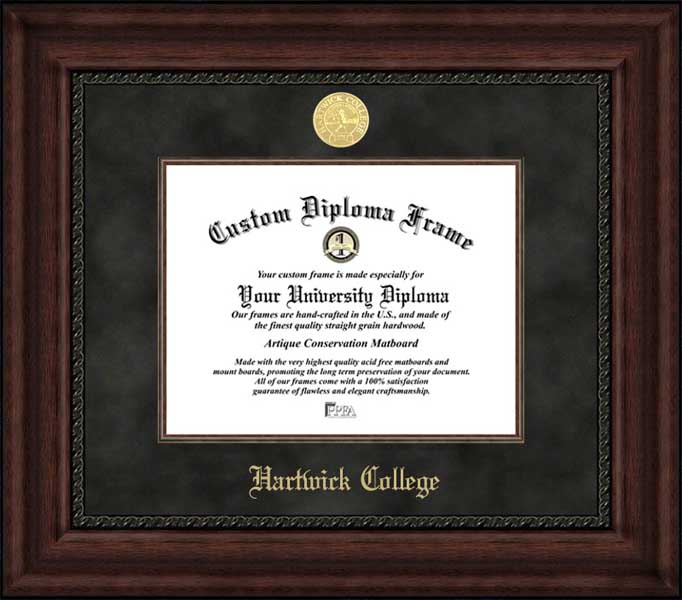 College - Hartwick College Hawks - Gold Medallion - Suede Mat - Mahogany - Diploma Frame