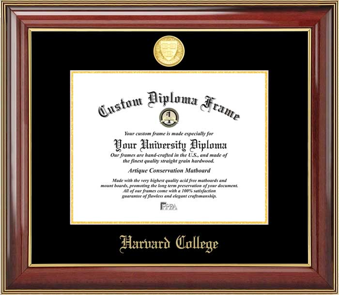 College - Harvard College  - Gold Medallion - Mahogany Gold Trim - Diploma Frame